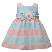 Bonnie Jean sleeveless sheer stripe with satin band and flower- Baby Girls
