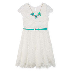 Knit Works Short Sleeve Cap Sleeve Skater Dress - Big Kid Girls