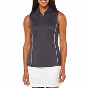 PGA Tour Sleeveless Solid Mesh Polo Shirt