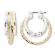 Mixit Two-Tone Diamond-Cut Hoop Earrings