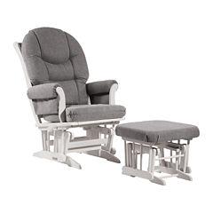 Dutailier®Ultramotion Multi-Position Sleigh Glider and Ottoman - Dark Grey