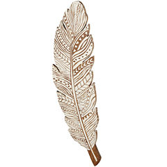 Whitewash Feather Distressed Wooden Wall Art