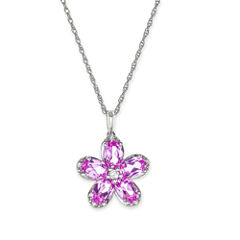Lab-Created Pink and White Sapphire Flower Pendant Necklace