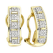 1 CT. T.W. Diamond 10K Yellow Gold Hoop Earrings