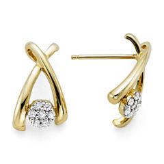 diamond blossom 1/10 CT. T.W. Diamond 10K Yellow Gold Wishbone Cluster Earrings
