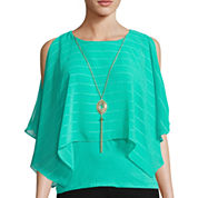 by&by Cold-Shoulder Poncho Blouse