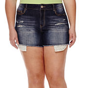 Vanilla Star® Crochet-Trim Distressed Denim Shorts - Juniors Plus