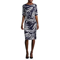 Connected Apparel Elbow Sleeve Sheath Dress