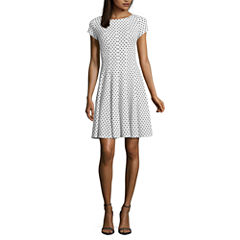 Danny & Nicole Short Sleeve Dot Fit & Flare Dress-Petites
