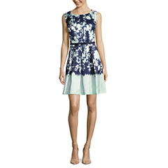 Danny & Nicole Sleeveless Belted Fit & Flare Dress-Petites