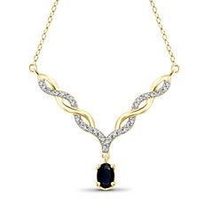 Womens Diamond Accent Blue Sapphire Y Necklace