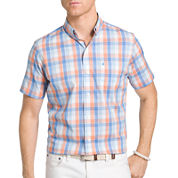 IZOD Short Sleeve Checked Woven Shirt- Big & Tall