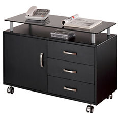RTA Products LLC Techni Mobili Graphite Rolling Storage Cabinet With Frosted Glass Top Printer Cart