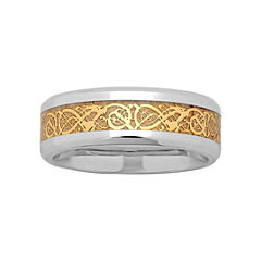 Mens Two-Tone Celtic Dragon Wedding Band