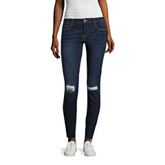 Almost Famous Destructed Skinny Jeans-Juniors
