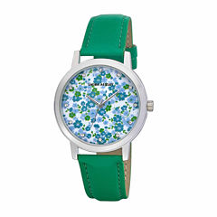 Laura Ashley Womens Floral Print Dial Green Strap Watch-LA31022GR
