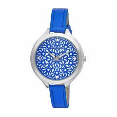 Laura Ashley Geo Print Dial Womens Blue Strap Watch-LA31023BL