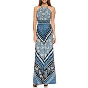 London Times Sleeveless Maxi Dress-Petites