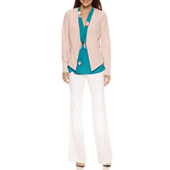 Worthington Long-Sleeve Hi-Lo Blazer, Sleeveless V Neck Blouse, and Modern Fit Trouser Pants