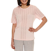 Alfred Dunner Rose Hill Short Sleeve Pullover Sweater Shell