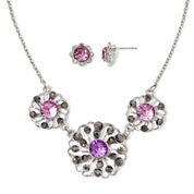 Liz Claiborne® Purple Stone and Silver-Tone Earring and Necklace Set