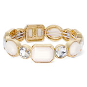 Monet® White Stone and Crystal Gold-Tone Stretch Bracelet