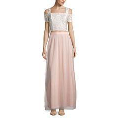 Reign On Short Sleeve Embellished Dress Set-Juniors