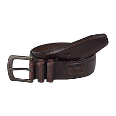 Columbia® Brown Leather Belt w/Contrast Stitching–Big & Tall
