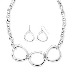 Liz Claiborne® Silver-Tone Necklace and Earrings Set