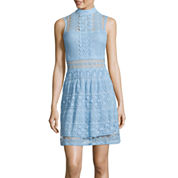 Trixxi® Sleeveless High-Neck Lace Fit-and-Flare Dress
