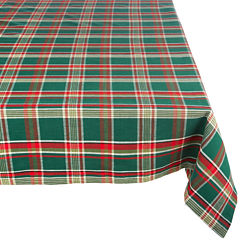 Design Imports Dark Green Plaid Tablecloth