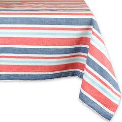 Design Imports Patriotic Stripe Cotton Tablecloth
