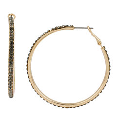 Worthington® Pave Black Stone Gold-Tone Hoop Earrings