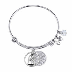 Disney Womens Beauty and the Beast Clear Crystal Silver Over Brass Bangle Bracelet