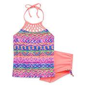 Breaking Waves Girls Tie Dye Tankini Set - Preschool