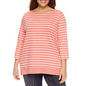 St. John`s Bay 3/4 Sleeve Boat Neck T-Shirt-Plus