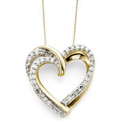 1/2 CT. T.W. Diamond 10K Yellow Gold Double-Heart Pendant Necklace