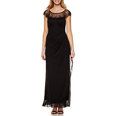 DJ Jaz Cap-Sleeve Beaded Formal Gown