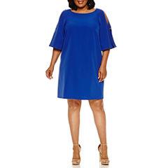 Donna Ricco 3/4 Sleeve Cold Shoulder Sheath Dress-Plus