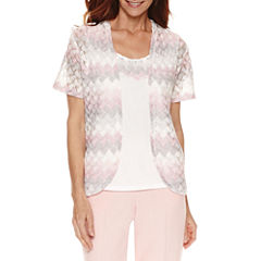 Alfred Dunner Rose Hill Short Sleeve Biadere Layered Top Petites