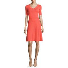 Worthington Elbow Sleeve Fit & Flare Dress