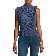 a.n.a Embroidered Ruffle Blouse