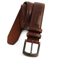 Columbia® Brown Leather Belt w/Contrast Stitching–Big & Tall