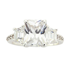 Sparkle Allure Womens Clear Cubic Zirconia Silver Over Brass Cocktail Ring
