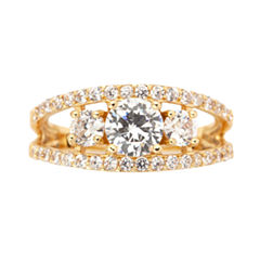Sparkle Allure Womens Clear Silver Over Brass 3-Stone Ring