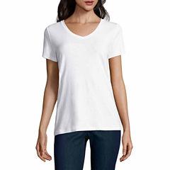 St. John's Bay Short Sleeve V Neck T-Shirt-Womens Talls