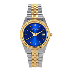 Hampden Mens Diamond Accent Two-Tone Blue Dial Personalized Watch
