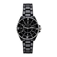 Hampden  Womens Black Silver-Tone Personalized Bracelet Watch