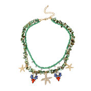 Bleu™ Gold-Tone Starfish and Shell Layered Necklace