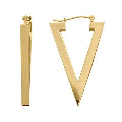 14K Yellow Gold Polished Triangle Hoop Earrings